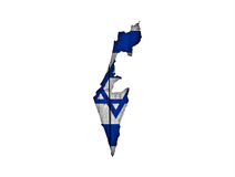 Map and flag of Israel on weathered wood Stock Photography