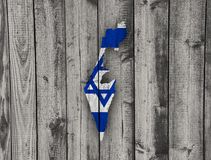 Map and flag of Israel on weathered wood Stock Photos