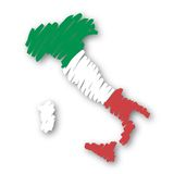 Map flag Italy (vector). Drawing of the map of Italy