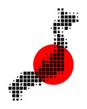 Map and flag of Japan. In black dots and red symbol Royalty Free Illustration