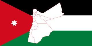 Map and flag of Jordan. Vector illustration. World map Royalty Free Stock Photos
