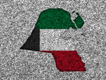 Map and flag of Kuwait on poppy seeds Royalty Free Stock Image