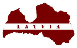 The map and flag of Latvian republic Royalty Free Stock Photos