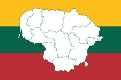 Map and flag of Lithuania. Vector illustration. World map Royalty Free Stock Photo