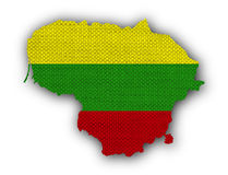 Map and flag of Lithuania on old linen Royalty Free Stock Photography