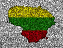 Map and flag of Lithuania on poppy seeds Royalty Free Stock Photography