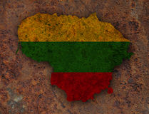 Map and flag of Lithuania on rusty metal Stock Photos