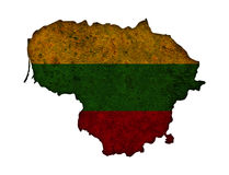 Map and flag of Lithuania on rusty metal Royalty Free Stock Photo