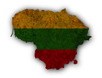 Map and flag of Lithuania on rusty metal Stock Photography