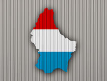 Map and flag of Luxembourg on corrugated iron Royalty Free Stock Image