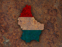 Map and flag of Luxembourg on rusty metal Stock Photography