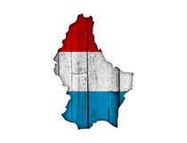 Map and flag of Luxembourg on weathered wood Stock Photography