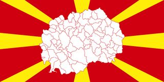 Map and flag of Macedonia. Vector illustration. World map Stock Image