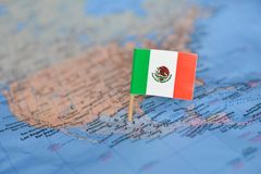 Map with flag of Mexico. The Map with flag of Mexico stock photos