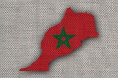 Map and flag of Morocco on old linen. Colorful and crisp image of map and flag of Morocco on old linen royalty free stock images