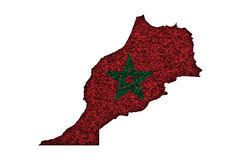 Map and flag of Morocco on poppy seeds. Colorful and crisp image of map and flag of Morocco on poppy seeds royalty free illustration