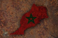 Map and flag of Morocco on rusty metal. Colorful and crisp image of map and flag of Morocco on rusty metal stock photos