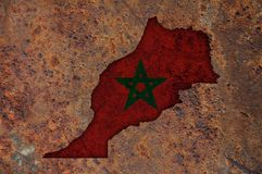 Map and flag of Morocco on rusty metal. Colorful and crisp image of map and flag of Morocco on rusty metal royalty free stock photo