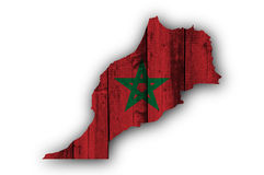 Map and flag of Morocco on weathered wood Royalty Free Stock Photo