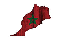 Map and flag of Morocco on weathered wood stock illustration