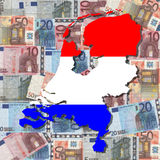 Map and flag of Netherlands Royalty Free Stock Photo