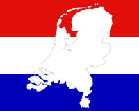 Map and flag of the Netherlands Royalty Free Stock Image