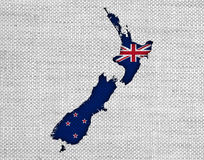 Map and flag of New Zealand on linen, Stock Image