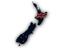 Map and flag of New Zealand on rusty metal, Stock Images