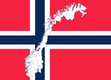Map and flag of Norway. Vector illustration. World map Stock Photography