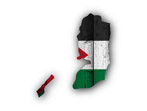 Map and flag of Palestine on weathered wood Stock Image