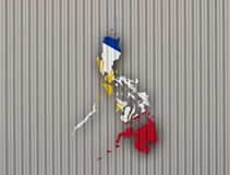 Map and flag of the Philippines on corrugated iron Royalty Free Stock Images