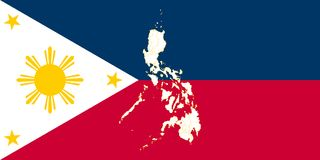 Map and flag of Philippines. Vector illustration. World map Royalty Free Stock Photo