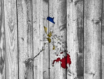 Map and flag of the Philippines on weathered wood Stock Photography