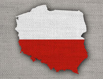 Map and flag of Poland Royalty Free Stock Photos