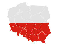 Map and flag of Poland Stock Image