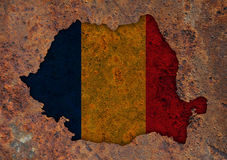 Map and flag of Romania Stock Photography