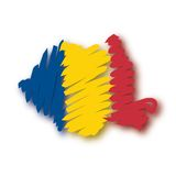 Map flag Romania (vector) Stock Photo