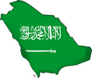 map flag Saudi Arabia (vector) Royalty Free Stock Images