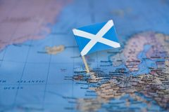 Map with flag of Scotland. The Map with flag of Scotland royalty free stock photos