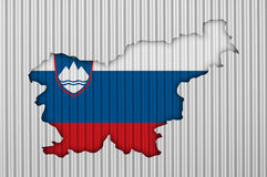 Map and flag of Slovenia on corrugated iron Royalty Free Stock Image