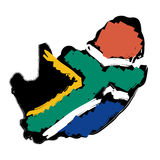 Map flag South Africa Stock Photos