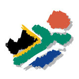 Map flag South Africa Royalty Free Stock Photos