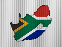 Map and flag of South Africa on corrugated iron Royalty Free Stock Image
