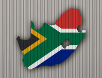 Map and flag of South Africa on corrugated iron Stock Photos