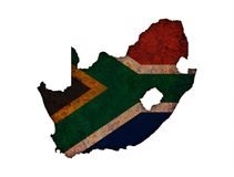 Map and flag of South Africa on rusty metal royalty free stock images