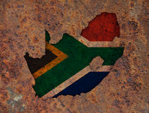 Map and flag of South Africa on rusty metal Royalty Free Stock Photo
