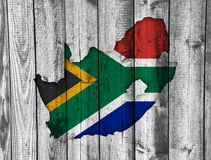 Map and flag of South Africa on weathered wood Stock Photo