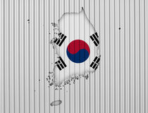 Map and flag of South Korea Stock Photography