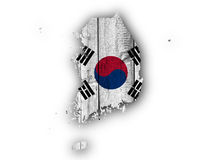 Map and flag of South Korea royalty free stock photos