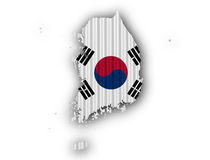 Map and flag of South Korea stock illustration